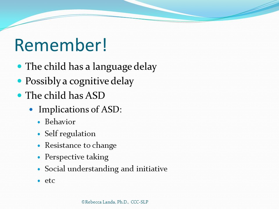 Remember! The child has a language delay Possibly a cognitive delay The child has ASD Implications of ASD: Behavior Self regulation Resistance to chan