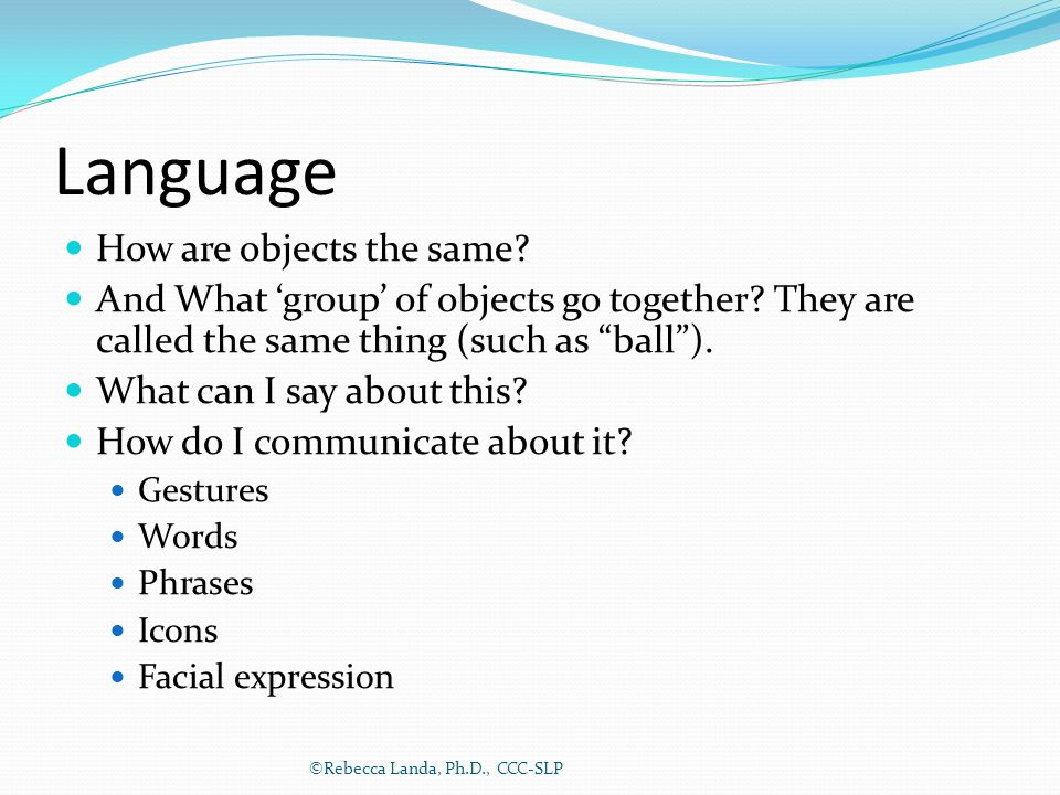 "Language How are objects the same? And What 'group' of objects go together? They are called the same thing (such as ""ball""). What can I say about this"