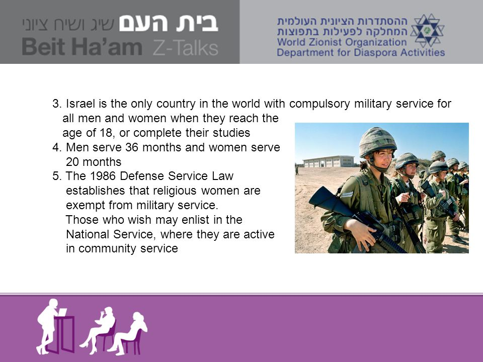 3. Israel is the only country in the world with compulsory military service for all men and women when they reach the age of 18, or complete their stu