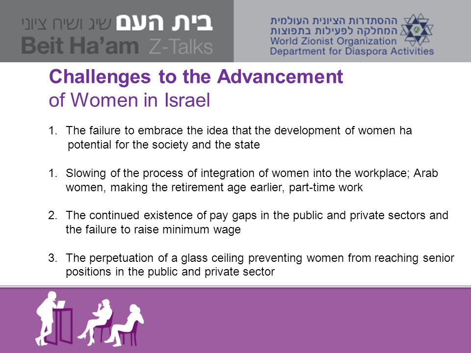 Challenges to the Advancement of Women in Israel 1.The failure to embrace the idea that the development of women ha potential for the society and the