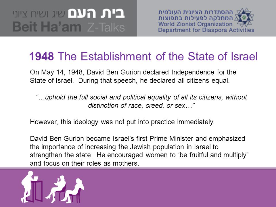 1948 The Establishment of the State of Israel On May 14, 1948, David Ben Gurion declared Independence for the State of Israel. During that speech, he