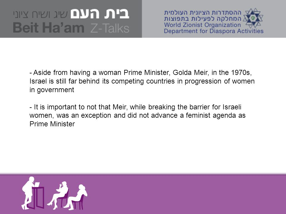 - Aside from having a woman Prime Minister, Golda Meir, in the 1970s, Israel is still far behind its competing countries in progression of women in go