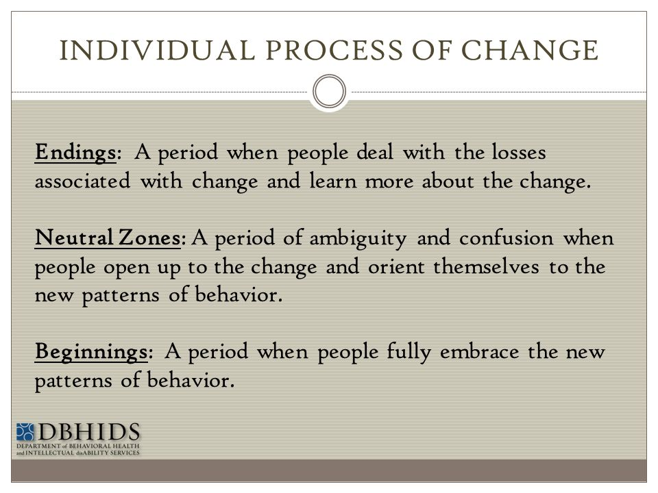 INDIVIDUAL PROCESS OF CHANGE Endings: A period when people deal with the losses associated with change and learn more about the change. Neutral Zones: