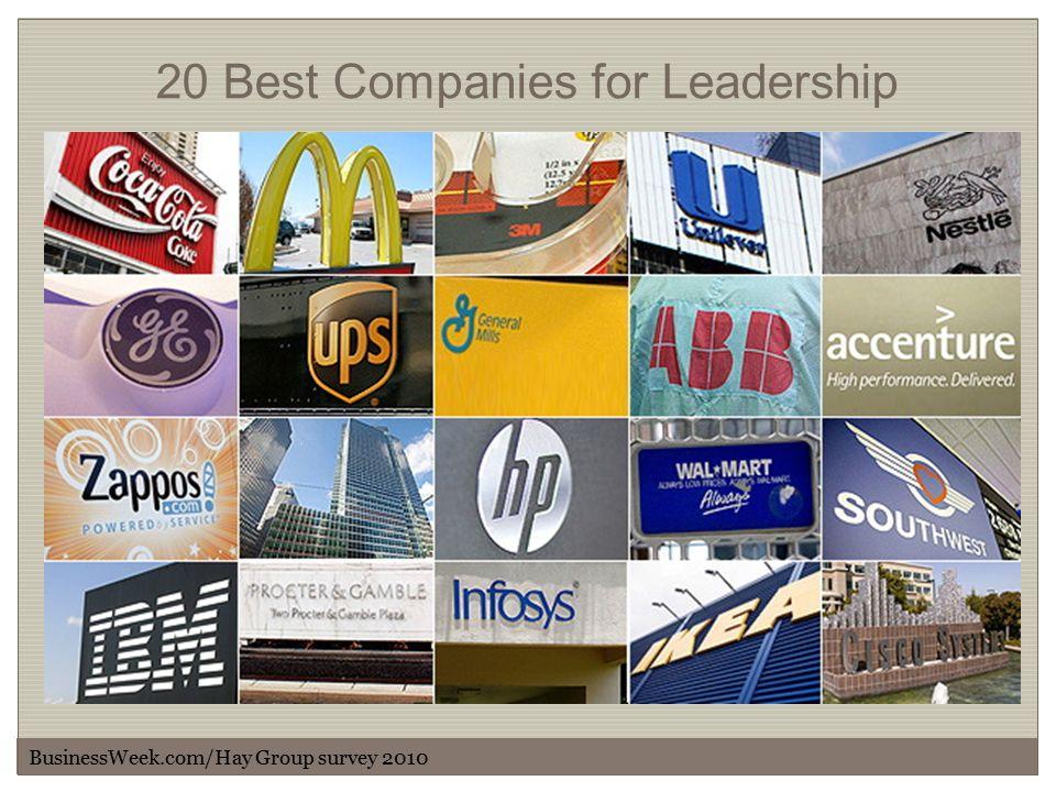 20 Best Companies for Leadership BusinessWeek.com/Hay Group survey 2010