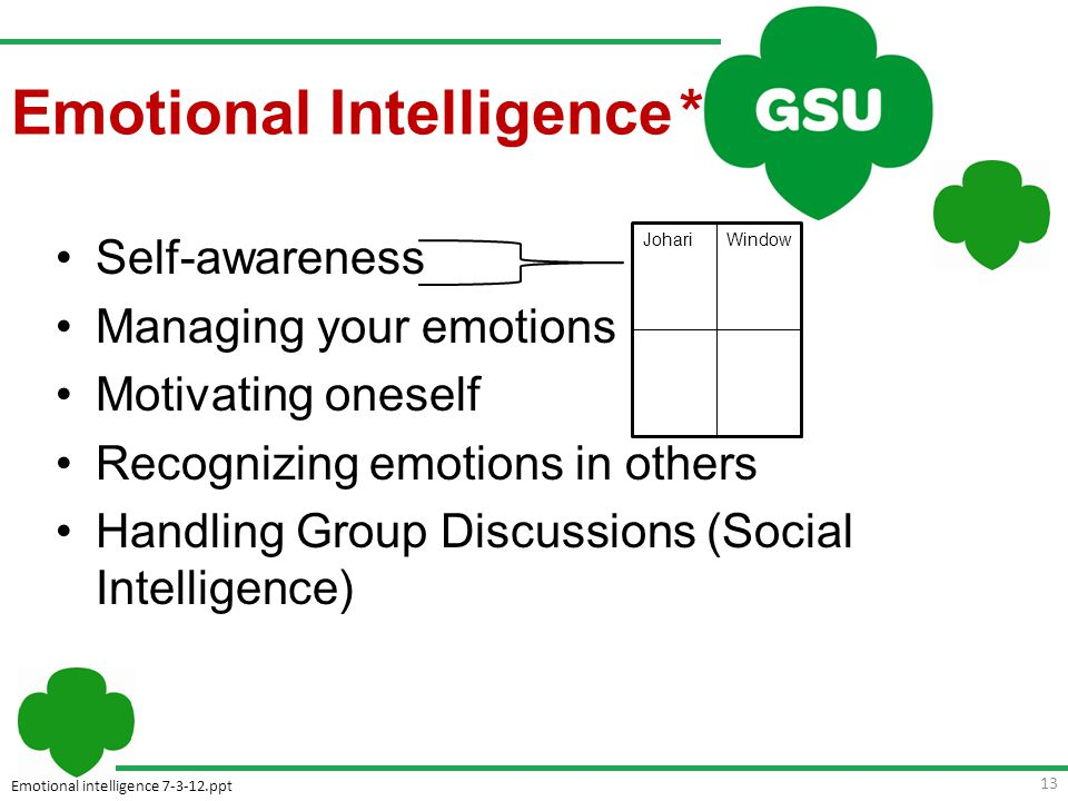 Emotional intelligence 7-3-12.ppt 13 Self-awareness Managing your emotions Motivating oneself Recognizing emotions in others Handling Group Discussions (Social Intelligence) Johari Window Emotional Intelligence *