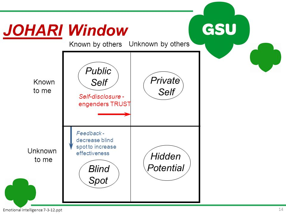 Emotional intelligence 7-3-12.ppt 14 Feedback - decrease blind spot to increase effectiveness Hidden Potential Blind Spot Known to me Unknown to me Known by others Unknown by others Public Self Private Self Self-disclosure - engenders TRUST JOHARI Window
