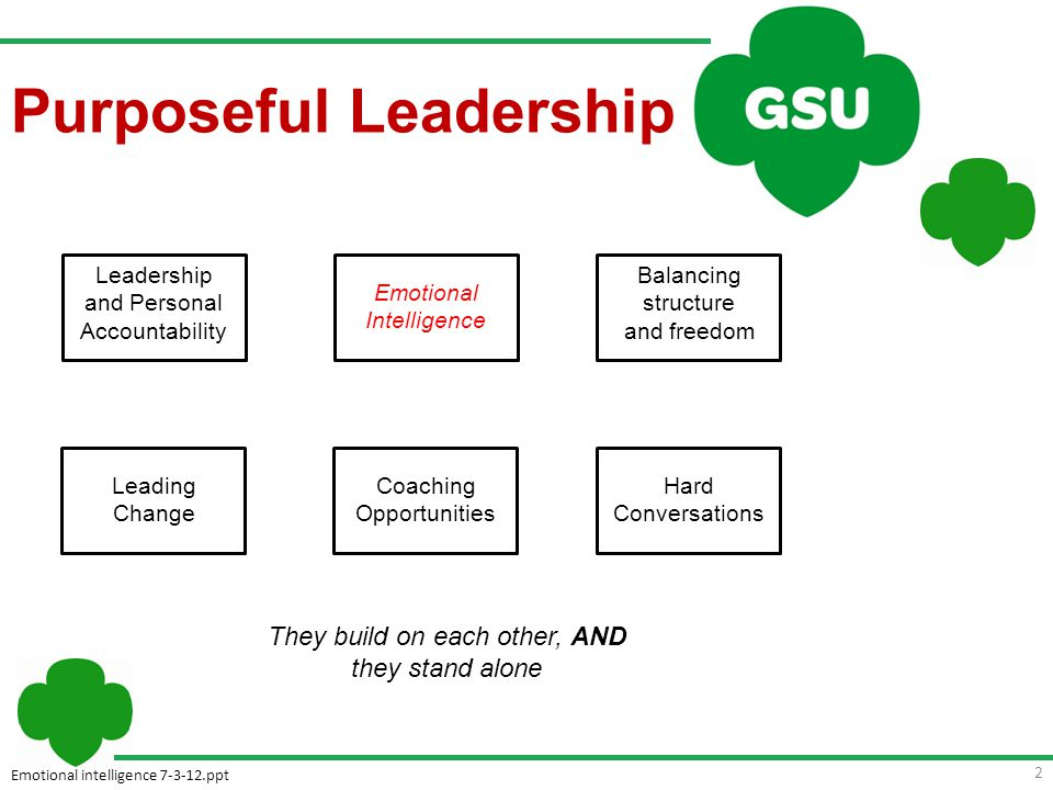 Emotional intelligence 7-3-12.ppt 2 Leadership and Personal Accountability Balancing structure and freedom Leading Change Coaching Opportunities Hard Conversations Emotional Intelligence They build on each other, AND they stand alone Purposeful Leadership
