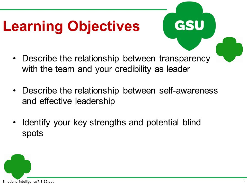 Emotional intelligence 7-3-12.ppt Learning Objectives Describe the relationship between transparency with the team and your credibility as leader Describe the relationship between self-awareness and effective leadership Identify your key strengths and potential blind spots 3