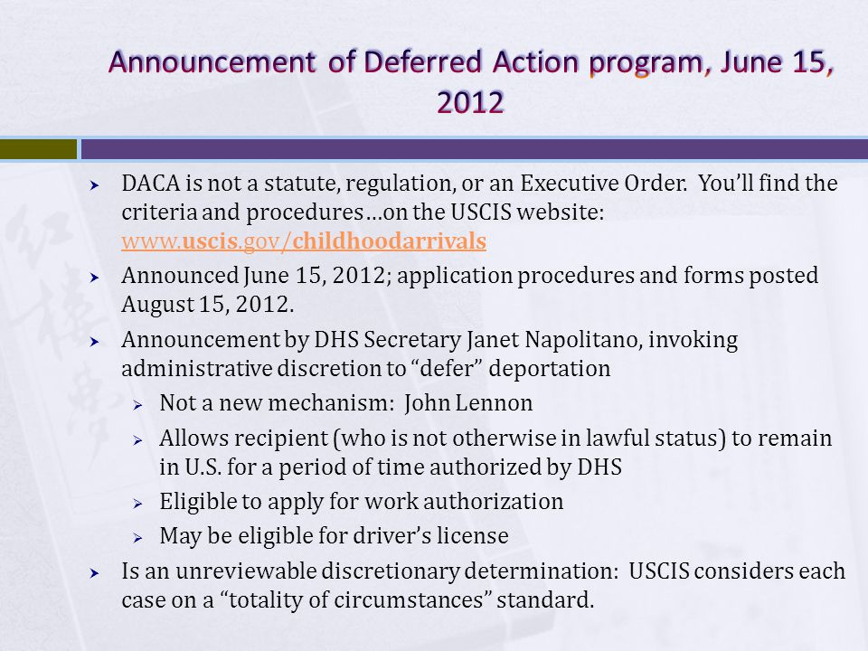  DACA is not a statute, regulation, or an Executive Order.
