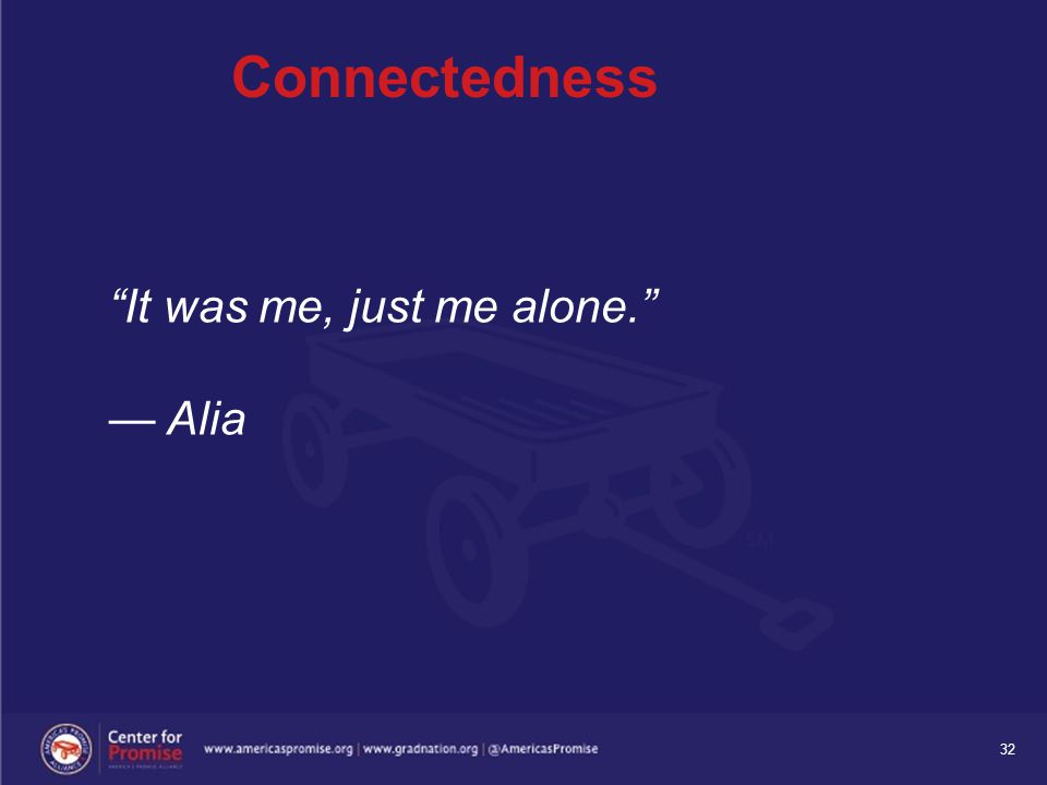 "32 Connectedness ""It was me, just me alone."" — Alia"