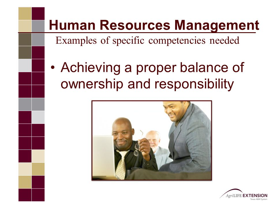 Achieving a proper balance of ownership and responsibility Human Resources Management Examples of specific competencies needed