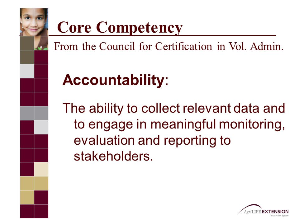 Core Competency From the Council for Certification in Vol.