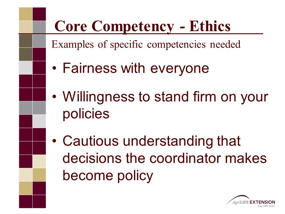 Core Competency - Ethics Examples of specific competencies needed Fairness with everyone Willingness to stand firm on your policies Cautious understanding that decisions the coordinator makes become policy
