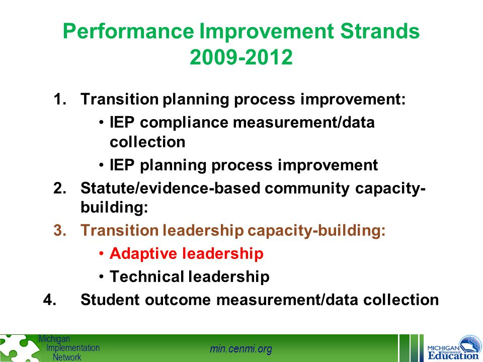 min.cenmi.org Michigan Implementation Network Performance Improvement Strands 2009-2012 1.Transition planning process improvement: IEP compliance meas
