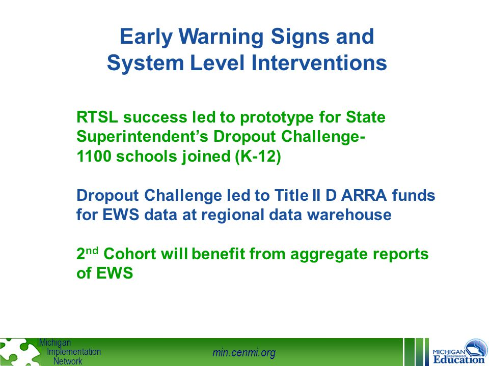 min.cenmi.org Michigan Implementation Network Early Warning Signs and System Level Interventions RTSL success led to prototype for State Superintenden