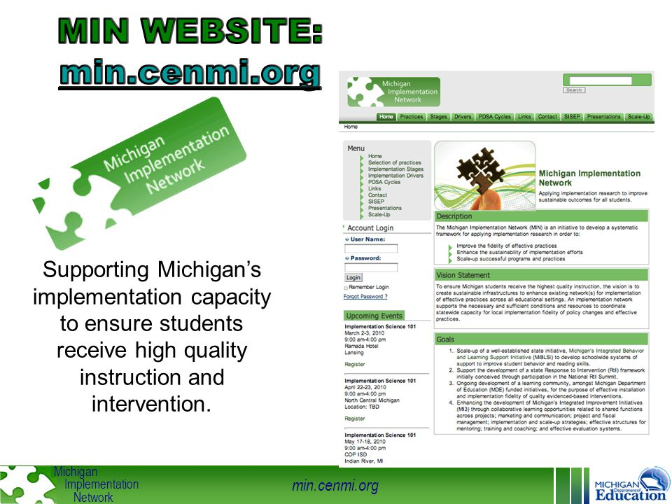 min.cenmi.org Michigan Implementation Network Supporting Michigan's implementation capacity to ensure students receive high quality instruction and in