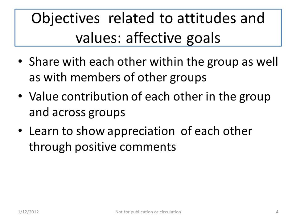 Objectives related to attitudes and values: affective goals Share with each other within the group as well as with members of other groups Value contribution of each other in the group and across groups Learn to show appreciation of each other through positive comments 1/12/2012Not for publication or circulation4