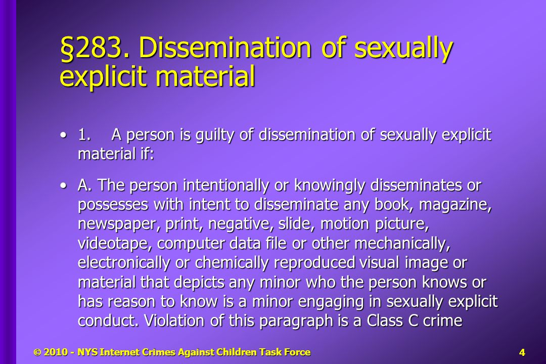§283. Dissemination of sexually explicit material 1.