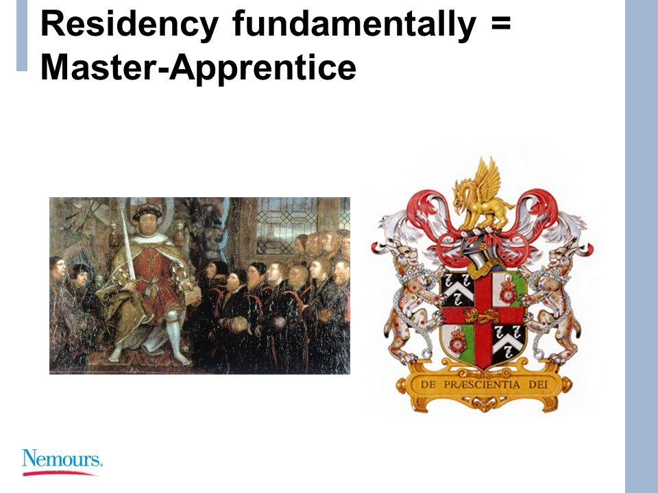 Residency fundamentally = Master-Apprentice