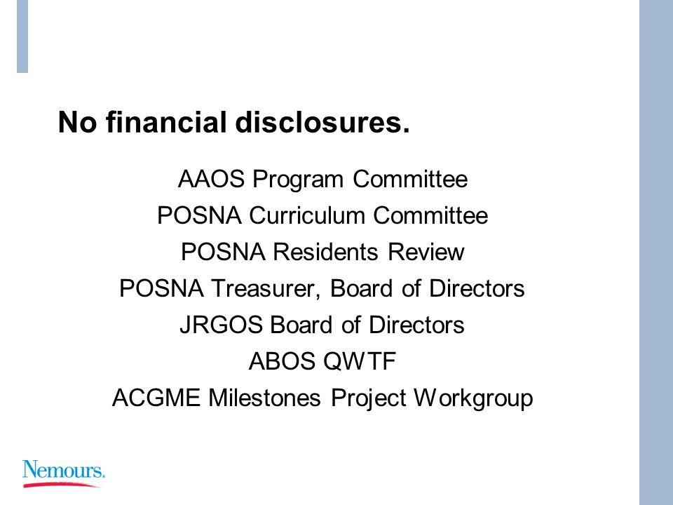 No financial disclosures. AAOS Program Committee POSNA Curriculum Committee POSNA Residents Review POSNA Treasurer, Board of Directors JRGOS Board of