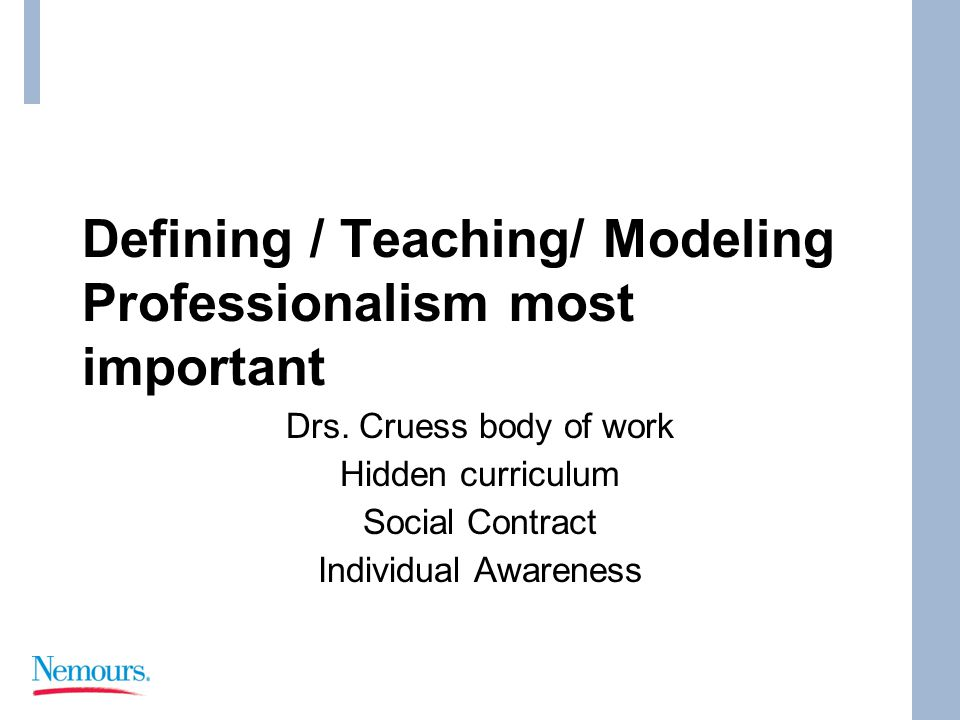 Defining / Teaching/ Modeling Professionalism most important Drs.