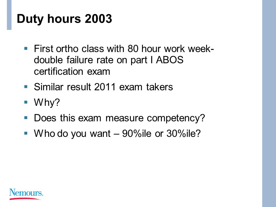 Duty hours 2003  First ortho class with 80 hour work week- double failure rate on part I ABOS certification exam  Similar result 2011 exam takers  Why.