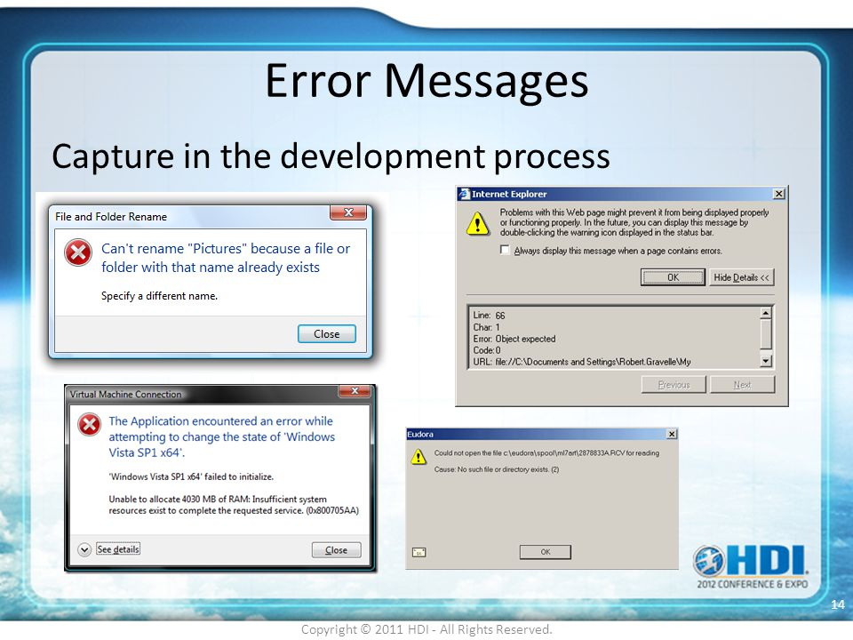 Error Messages Capture in the development process Copyright © 2011 HDI - All Rights Reserved. 14