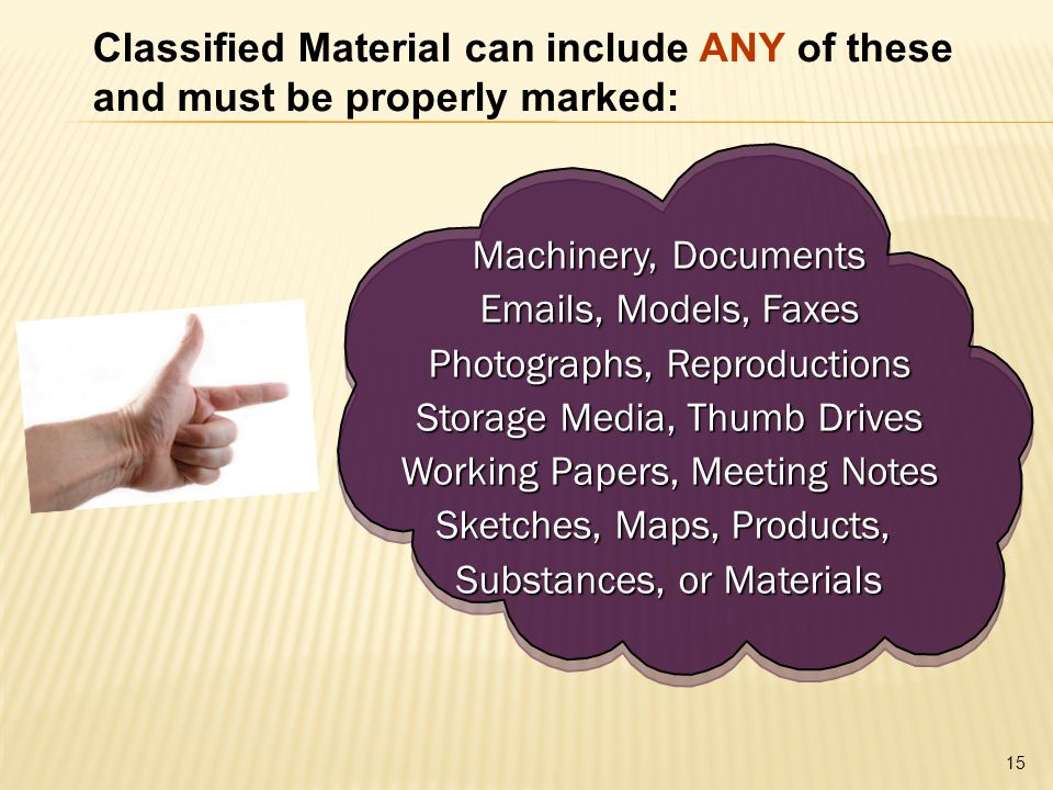 15 Classified Material can include ANY of these and must be properly marked: Machinery, Documents Emails, Models, Faxes Photographs, Reproductions Storage Media, Thumb Drives Working Papers, Meeting Notes Sketches, Maps, Products, Substances, or Materials