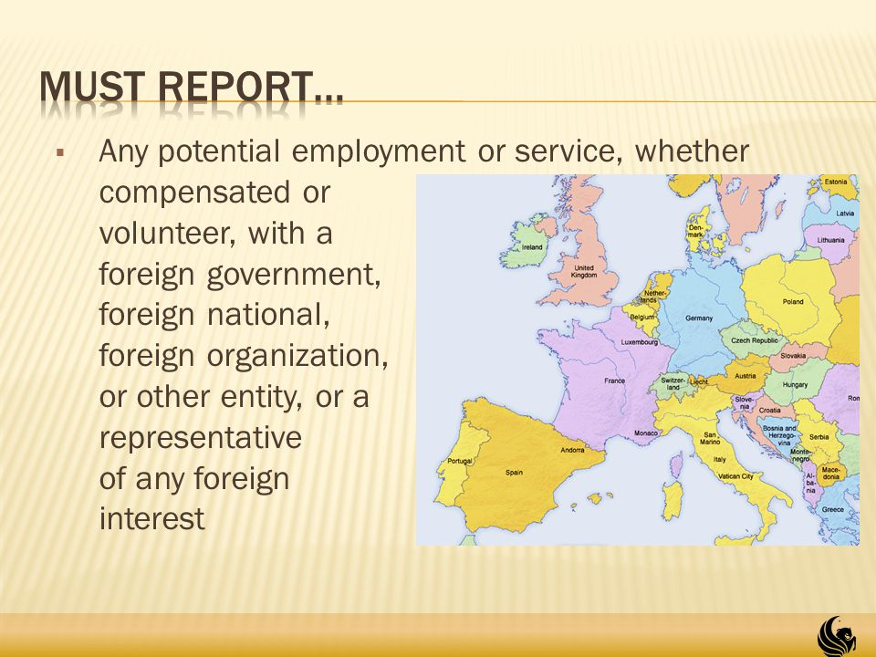  Any potential employment or service, whether compensated or volunteer, with a foreign government, foreign national, foreign organization, or other entity, or a representative of any foreign interest 29
