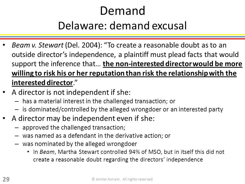 Demand Delaware: demand excusal Beam v. Stewart (Del.