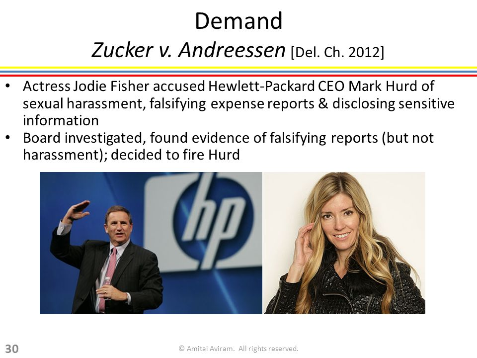 Demand Zucker v. Andreessen [Del. Ch. 2012] Actress Jodie Fisher accused Hewlett-Packard CEO Mark Hurd of sexual harassment, falsifying expense report