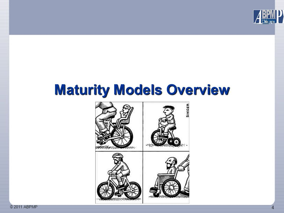 © 2011 ABPMP 5 Maturity Models Stages of Growth Models Manufacturing Maturity Model Capability Maturity Model (CMM) Other IT Maturity Models Proliferation of Maturity Models