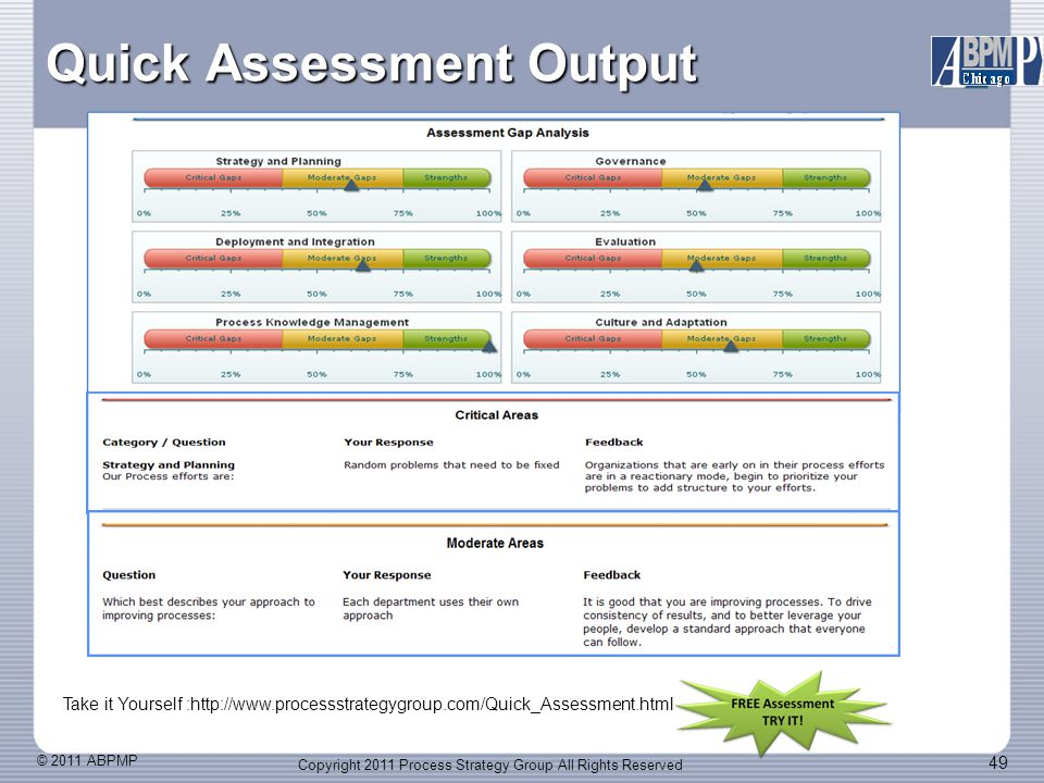 © 2011 ABPMP 49 Quick Assessment Output Copyright 2011 Process Strategy Group All Rights Reserved Take it Yourself :http://www.processstrategygroup.com/Quick_Assessment.html