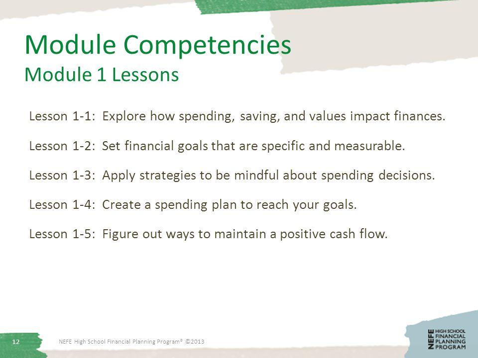 Module Competencies Module 1 Lessons Lesson 1-1: Explore how spending, saving, and values impact finances.