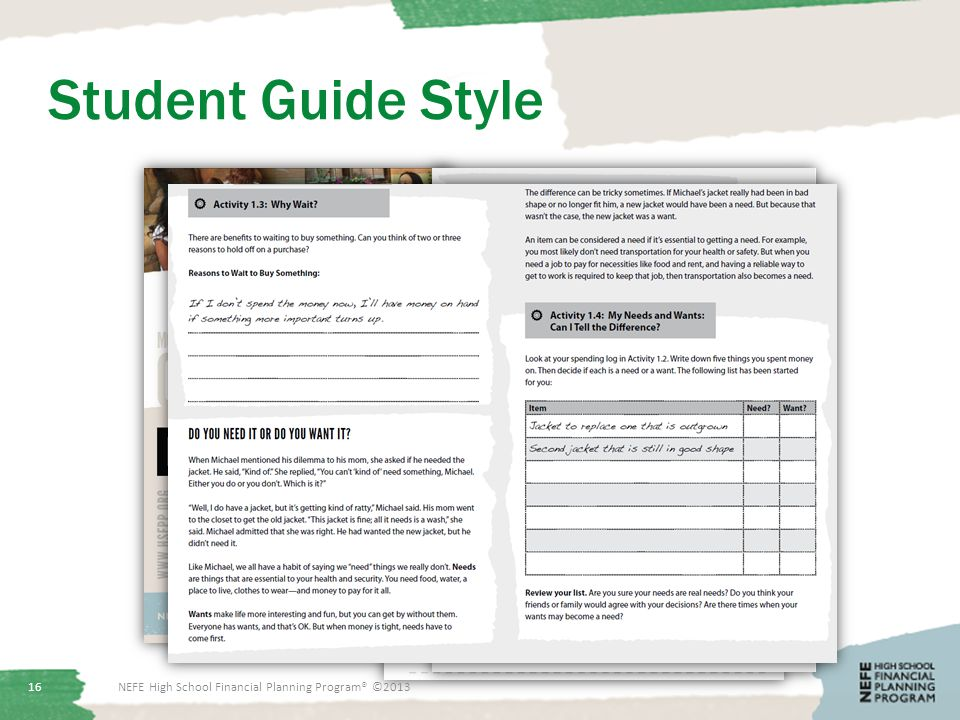 Student Guide Style 16NEFE High School Financial Planning Program® ©2013