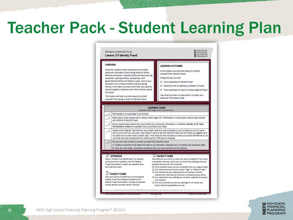 Teacher Pack - Student Learning Plan NEFE High School Financial Planning Program® ©2013 21