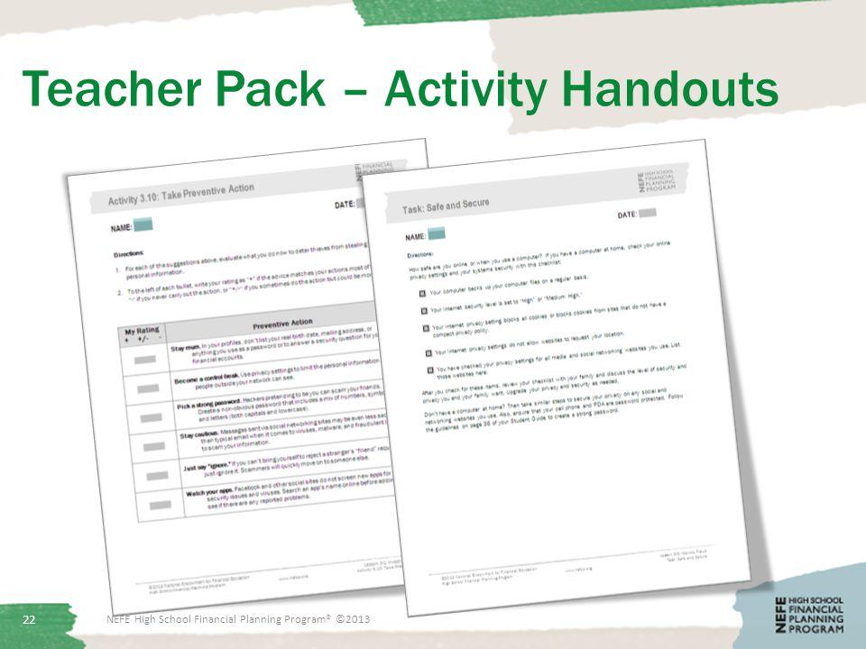 Teacher Pack – Activity Handouts NEFE High School Financial Planning Program® ©2013 22