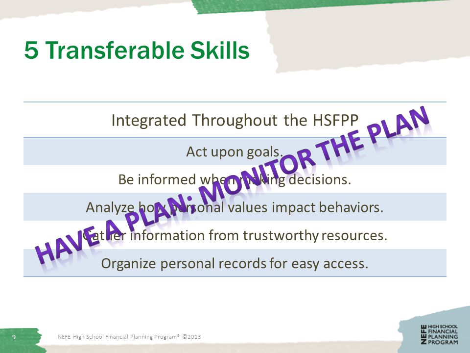 5 Transferable Skills Integrated Throughout the HSFPP Act upon goals.
