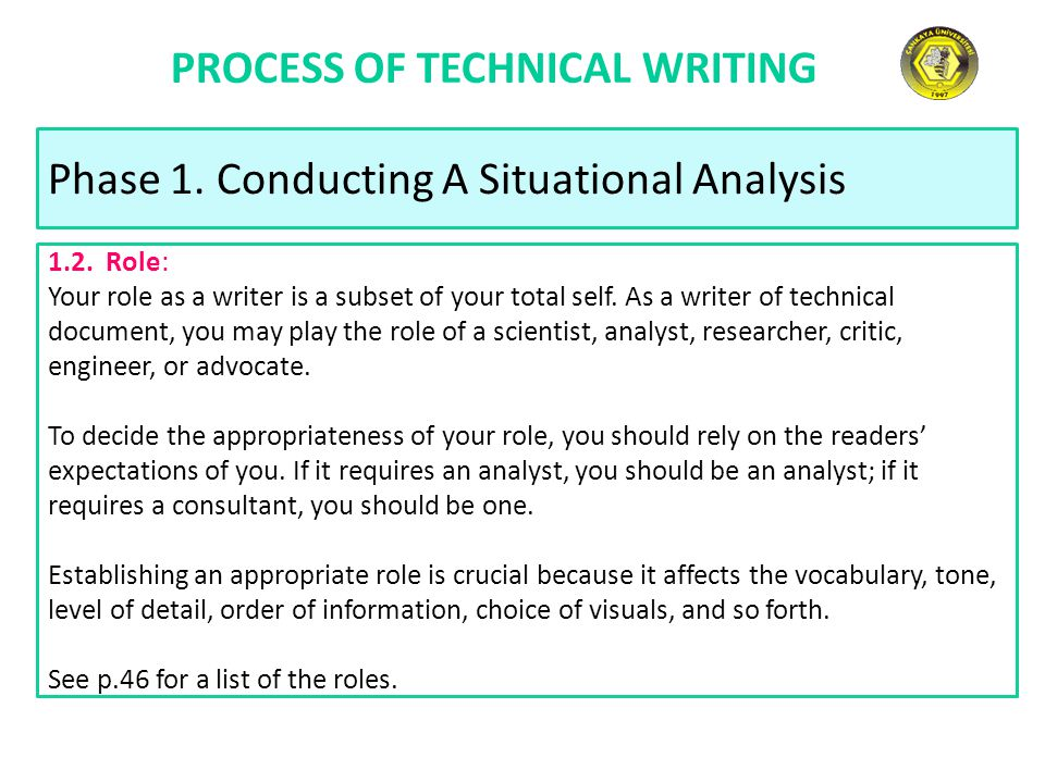 PROCESS OF TECHNICAL WRITING Phase 1. Conducting A Situational Analysis 1.2. Role: Your role as a writer is a subset of your total self. As a writer o