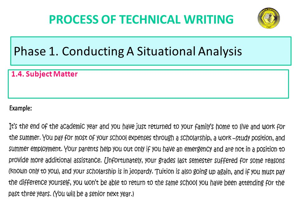 PROCESS OF TECHNICAL WRITING Phase 1. Conducting A Situational Analysis 1.4. Subject Matter
