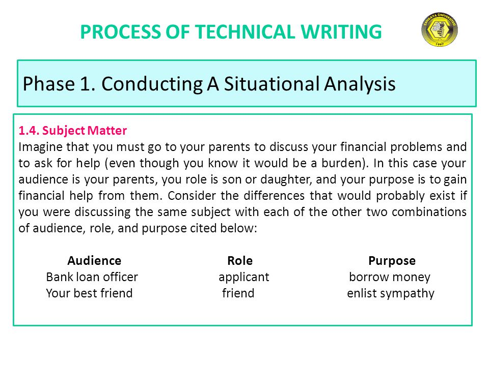 PROCESS OF TECHNICAL WRITING Phase 1. Conducting A Situational Analysis 1.4. Subject Matter Imagine that you must go to your parents to discuss your f