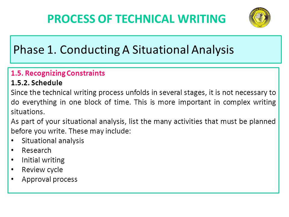 PROCESS OF TECHNICAL WRITING Phase 1. Conducting A Situational Analysis 1.5.