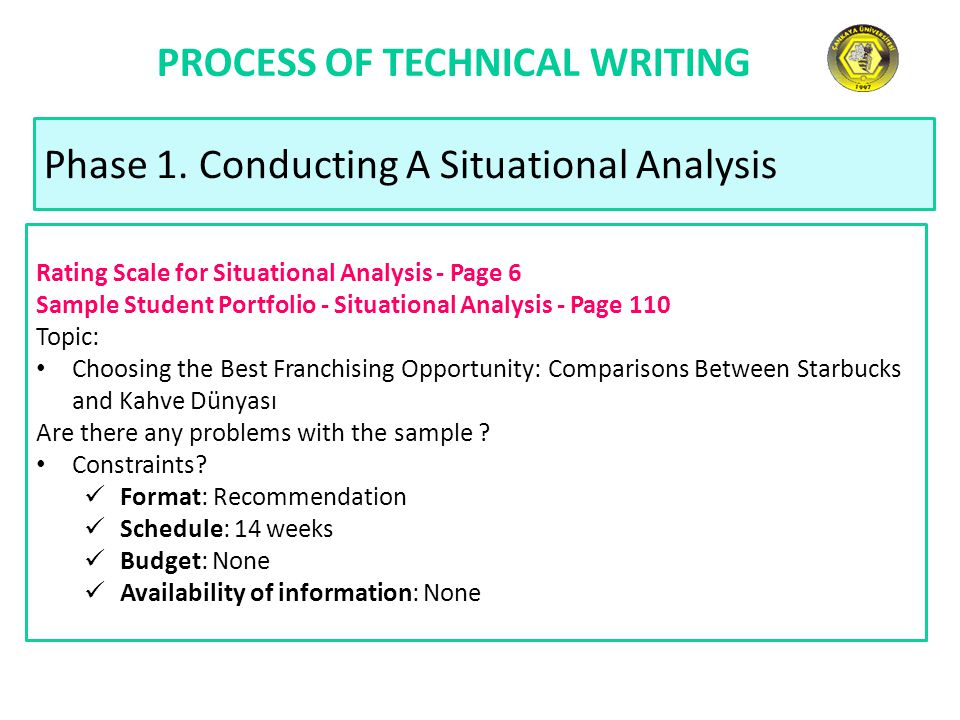 PROCESS OF TECHNICAL WRITING Phase 1. Conducting A Situational Analysis Rating Scale for Situational Analysis - Page 6 Sample Student Portfolio - Situ
