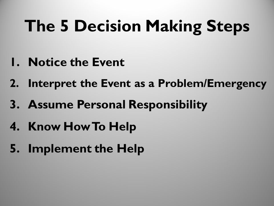 11 The 5 Decision Making Steps 1.Notice the Event 2.Interpret the Event as a Problem/Emergency 3.Assume Personal Responsibility 4.Know How To Help 5.I