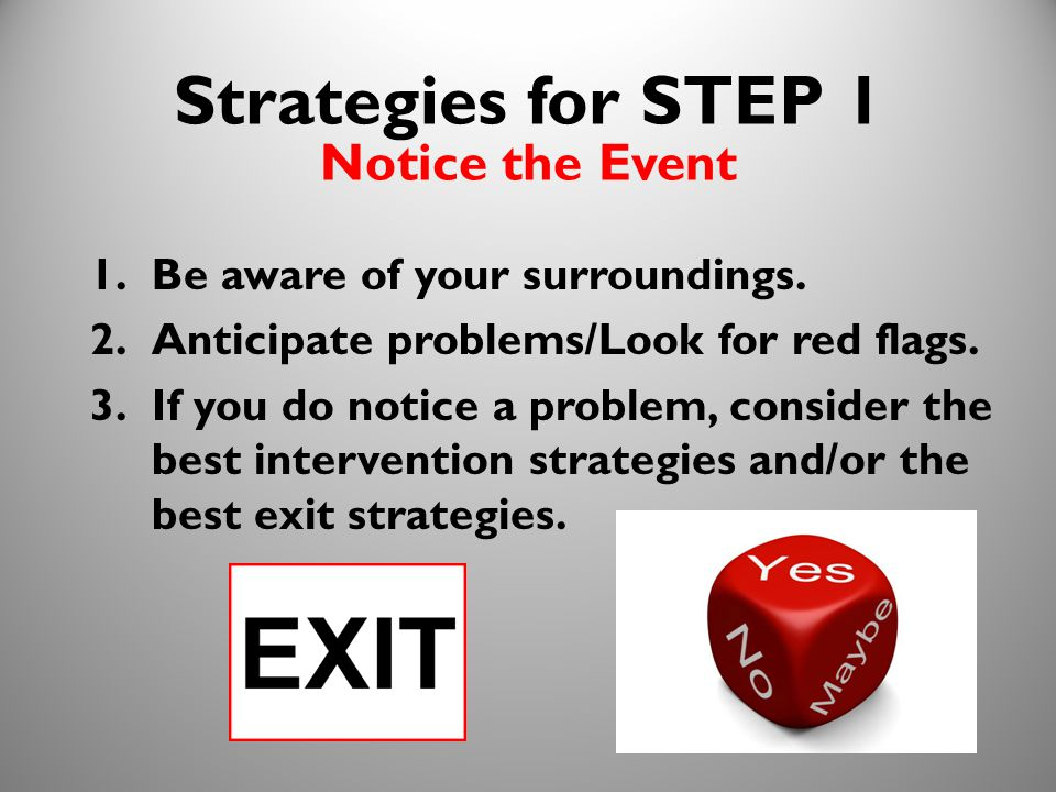 13 Strategies for STEP 1 Notice the Event 1.Be aware of your surroundings.