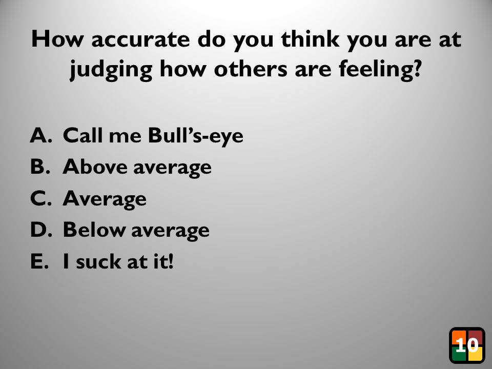 27 How accurate do you think you are at judging how others are feeling.