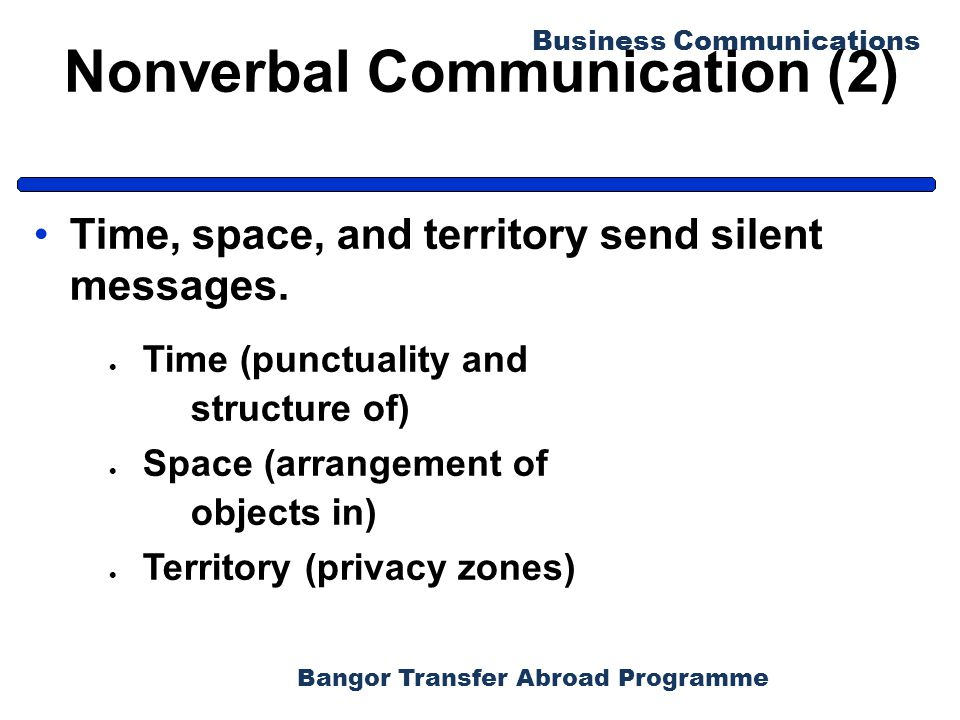 Bangor Transfer Abroad Programme Business Communications Nonverbal Communication (2) Time, space, and territory send silent messages.