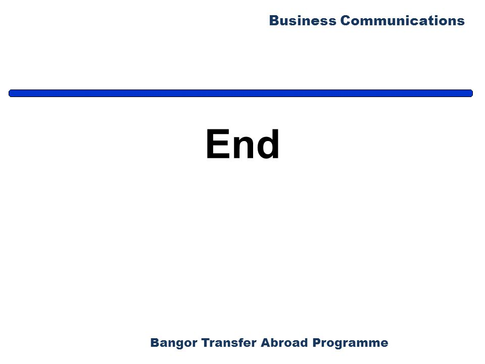 Bangor Transfer Abroad Programme Business Communications End