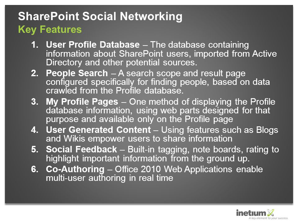 1.User Profile Database – The database containing information about SharePoint users, imported from Active Directory and other potential sources.