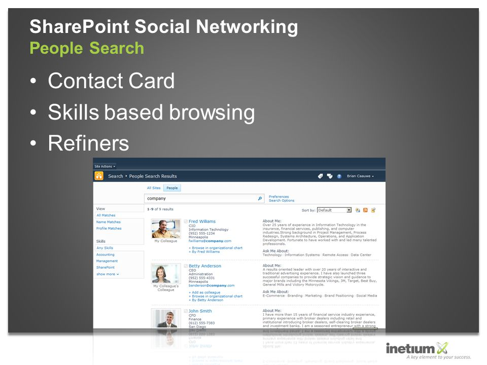 Contact Card Skills based browsing Refiners SharePoint Social Networking People Search